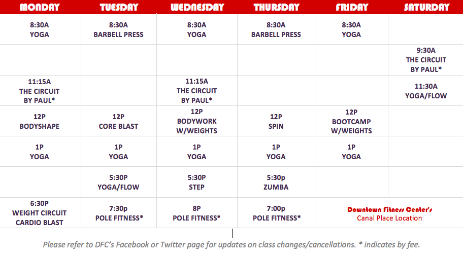 Downtown Fitness Center Canal Place Schedule